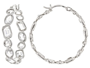 Pre-Owned White crystal quartz rhodium over sterling silver hoop earrings 8.35ctw