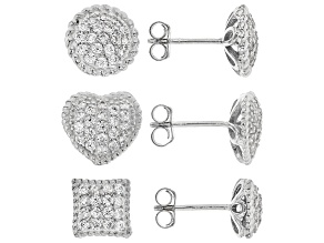 Pre-Owned White Cubic Zirconia Rhodium Over Sterling Silver Earrings Set Of 3 3.00ctw