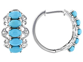 Pre-Owned Blue turquoise rhodium over sterling silver hoop earrings