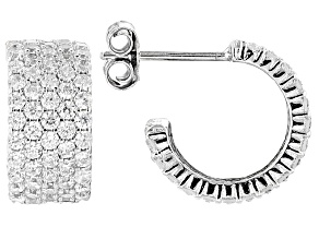 Pre-Owned White Cubic Zirconia Rhodium Over Sterling Silver Earrings 2.64ctw