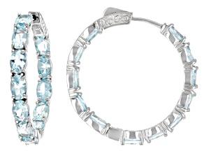 Pre-Owned Sky Blue Topaz Rhodium Over Sterling Silver Inside Outside Hoop Earrings 11.83ctw