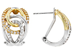 Pre-Owned White Zircon Rhodium & 18K Yellow Gold Over Sterling Silver Earrings 0.75ctw