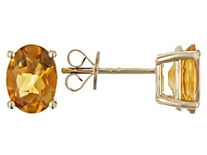 Pre-Owned Orange Madeira Citrine 10k Yellow Gold Earrings 2.00ctw