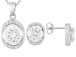 Pre-Owned Cubic Zirconia Rhodium Over Sterling Silver Earrings And Pendant With Chain Set 8.90ctw