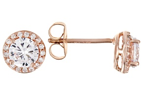 Pre-Owned White Cubic Zirconia 18K Rose Gold Over Sterling Silver Earrings 1.93ctw