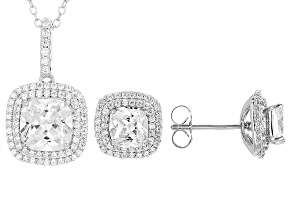 Pre-Owned White Cubic Zirconia Rhodium Over Sterling Silver Pendant With Chain And Earrings 7.57ctw