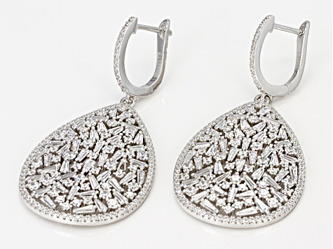 Pre-Owned White Cubic Zirconia Rhodium Over Sterling Silver Earrings 11.40ctw