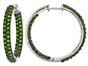 Pre-Owned Green chrome diopside rhodium over silver inside/outside hoop earrings