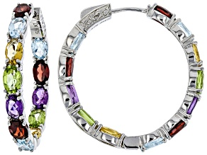 Pre-Owned Multi-color gemstone rhodium over silver earrings 10.98ctw