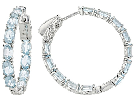 Pre-Owned Sky Blue Topaz Rhodium Over Sterling Silver Inside Outside Hoop Earrings 11.83ctw