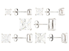 Pre-Owned White Cubic Zirconia Sterling Silver Earrings Set Of 5 24.80ctw