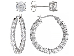 Pre-Owned White Cubic Zirconia Platineve Earrings set of 2 9.99ctw