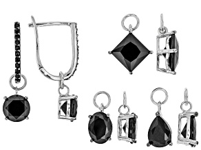 Pre-Owned Black Spinel Rhodium Over Sterling Silver Interchangeable Earrings Set of 4 12.41ctw