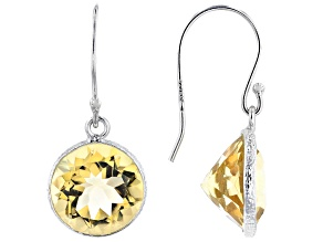 Pre-Owned Citrine Rhodium Over Sterling Silver  Dangle Earrings 8.00ctw