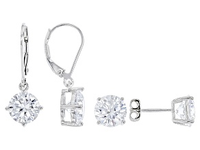 Pre-Owned White Cubic Zirconia Rhodium Over Sterling Silver Earrings Set 13.84ctw