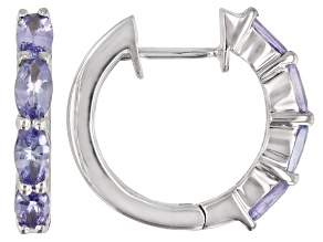 Pre-Owned Tanzanite Rhodium Over Sterling Silver Hoop Earrings 0.25ctw