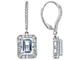 Pre-Owned Blue aquamarine rhodium over sterling silver dangle earrings 3.53ctw