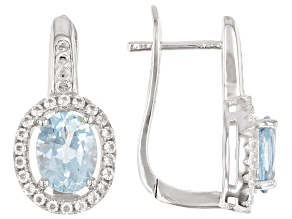 Pre-Owned  Sky Blue Topaz  Rhodium Over Sterling Silver Earrings 3.6ctw