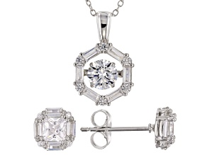 Pre-Owned White Cubic Zirconia Rhodium Over Silver Pendant & Earrings Set 4.42ctw