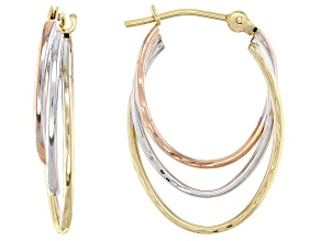 Pre-Owned 14k Tri-Color 11MM Triple Hoop Earrings