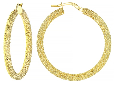 Pre-Owned 10K Yellow Gold 25MM Hammered Sparkle Hoop Earrings
