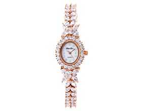Pre-Owned Cubic Zirconia 18K Rose Gold Over Sterling Silver Watch 20.84ctw.