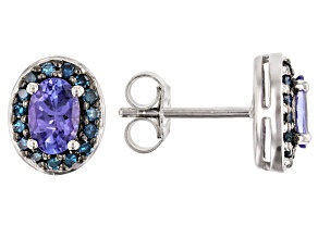 Pre-Owned Blue Tanzanite Rhodium Over Silver Earrings .96ctw