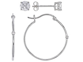 Pre-Owned White Cubic Zirconia Rhodium Over Sterling Silver Hoop And Stud Earring Set 1.54ctw