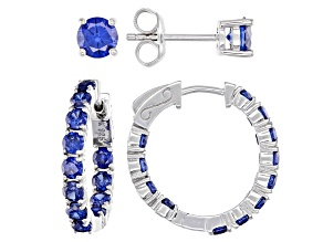 Pre-Owned Blue Cubic Zirconia Rhodium Over Sterling Silver Hoop and Stud Earring Set 6.56ctw