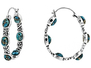 Pre-Owned Oval Cabochon Turquoise Sterling Silver Hoop Earrings