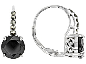 Pre-Owned Black spinel rhodium over sterling silver earrings 3.40ctw
