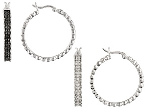 Pre-Owned White and Black Diamond Rhodium Over Brass Hoop Earrings Set 0.50ctw