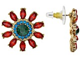 Pre-Owned Off Park ® Collection Multicolor Crystal Gold Tone Flower Earrings