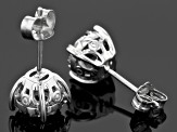 Pre-Owned Black And White Diamond Rhodium Over Sterling Silver Earrings .33ctw