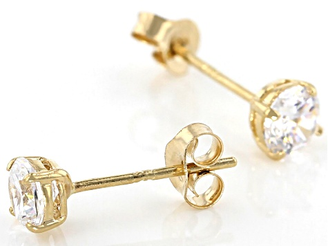 Pre-Owned White Cubic Zirconia 14K Yellow Gold Stud Earrings 0.86ctw