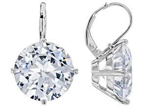Pre-Owned White Cubic Zirconia Rhodium Over Silver Earrings 32.22ctw