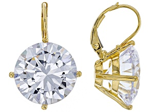 Pre-Owned White Cubic Zirconia 18k Yellow Gold Over Sterling Silver Earrings 32.22ctw