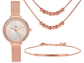 Pre-Owned Burgi™ Crystals From Swarovski™ Rose Tone Stainless Steel Watch Gift Set.