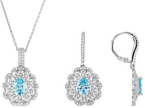 Pre-Owned Blue and White Cubic Zirconia Rhodium Over Sterling Silver Pendant With Chain and Earrings