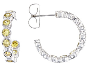 Pre-Owned Yellow Cubic Zirconia Rhodium Over Sterling Silver Hoop Earrings 3.48ctw
