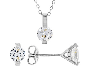 Pre-Owned White Cubic Zirconia Rhodium Over Sterling Silver Pendant With Chain And Earrings 2.43ctw