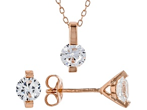Pre-Owned White Cubic Zirconia 18K Rose Gold Over Sterling Silver Pendant With Chain And Earrings 2.