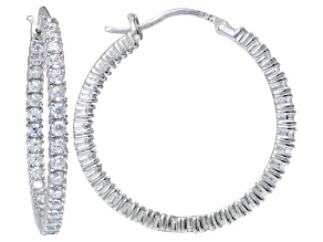 Pre-Owned Bella Luce ® 3.96ctw Diamond Simulant 30mm Round Sterling Silver Hoop Earrings