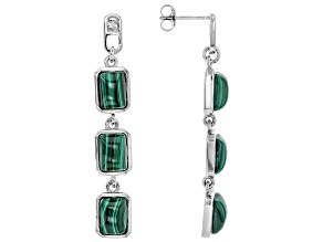 Pre-Owned Green malachite rhodium over sterling silver dangle earrings