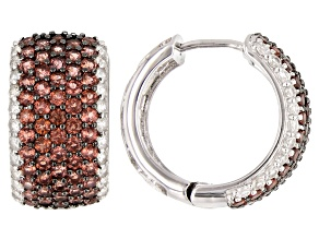 Pre-Owned  Garnet Rhodium Over Sterling Silver hoop Earrings 3.50ctw