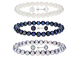 Pre-Owned Multi-Color Cultured Freshwater Pearl Stretch Bracelet & Stud Rhodium Over Silver Earrings