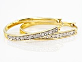 Pre-Owned White Diamond 14K Yellow Gold Over Sterling Silver Hoop Earrings 0.50ctw