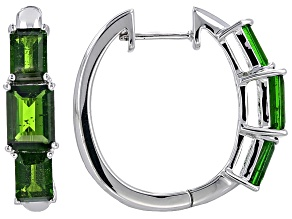 Pre-Owned Green Russian Chrome Diopside Sterling Silver Hoop Earrings 3.51ctw