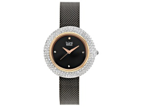 Pre-Owned Burgi™ Crystals From Swarovski™ Black Tone Stainless Steel Mesh Metal Band Watch