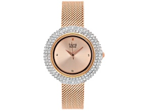 Pre-Owned Burgi™ Crystals From Swarovski™ Rose Tone Stainless Steel Mesh Metal Band Watch